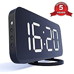 Home LED Clock, No Frills Simple Operation, Large Night Light, Loud Alarm, Snooze, Full Range Brightness Dimmer, Big White Digit Display, Black