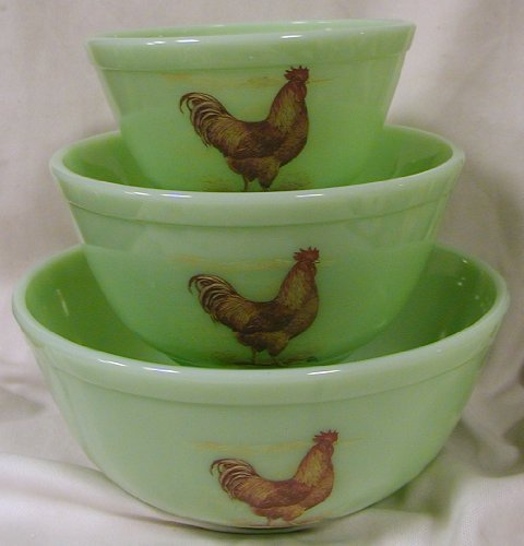 Jade Green Milk Glass Mixing Nest Bowls W/ Rooster Chicken Hen- Set of 3