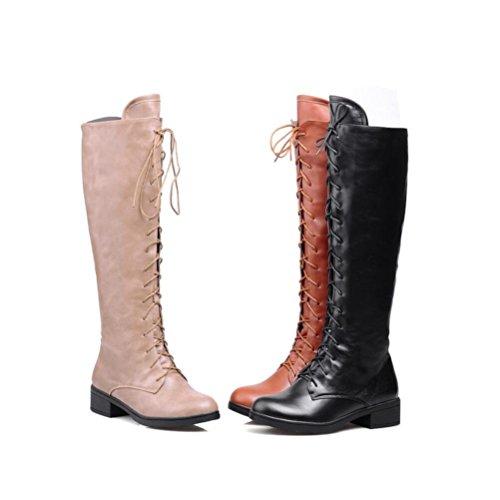 Ei&iLI Bottes pour dames chaudes PU ronde Toe talons lacets bottes d'hiver court , beige , 40