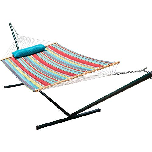 Lazy Daze Hammocks 15 Feet Heavy Duty Steel Hammock Stand Two Person Quilted Fabric Hammock and Pillow Combo, Blue&Red Stripe - Large Quilted Fabric Hammock