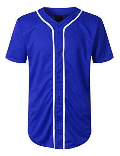 URBANCREWS Mens Hipster Hip Hop Basic Solid Baseball Jersey Shirt Royal, L ()