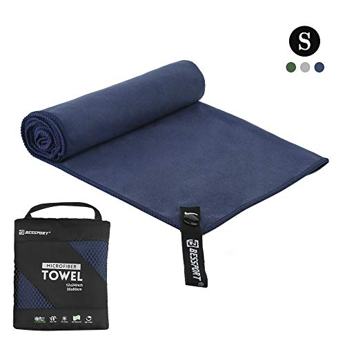Bessport Microfiber Towel Travel & Beach & Sports Towel Set, Fast Quick Drying · Super Absorbent ·Ultra Compact Hand Towel Perfect for Swimming, Backpacking, Gym, Yoga, Camping (S+Blue)