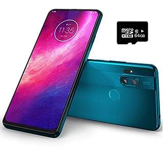 "Motorola Moto One Hyper (128GB, 4GB) 6.5"", 32MP Pop-up Camera, 45W Hyper Charging, Dual SIM Unlocked (AT&T/T-Mobile/MetroPCS/GSM) XT2027-1 (Blue Iceberg, 64GB SD Card + Case Bundle)"