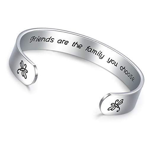 CERSLIMO Friendship Gifts for Women Best Friend Bracelet Friends are The Family We Choose Cuff Bangle Motivational Encouragement Birthday Gifts for Woman Girls