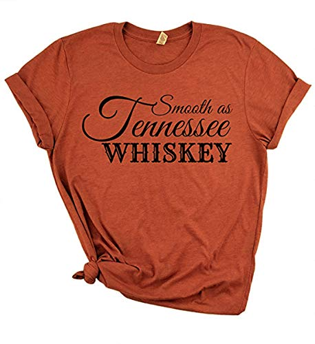 Smooth As Tennessee Whiskey T-Shirt Women Country Music Shirt Girl Nashville Concert Cute Tops Tee Size L (Brick Red)