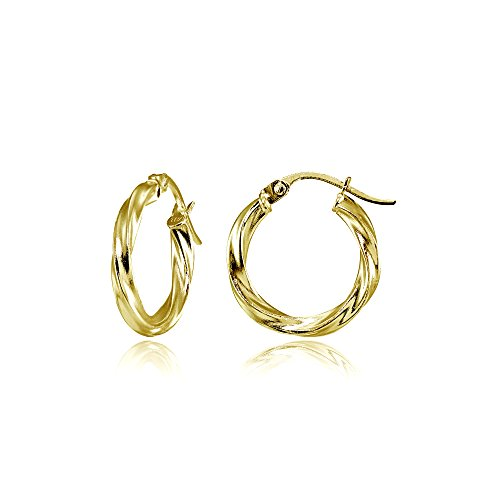 Hoop Earrings Gold 15mm - Hoops & Loops Flash Plated Gold Sterling Silver 2mm Twist Round Hoop Earrings, 15mm