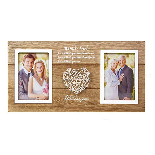 VILIGHT Wedding Parents Gifts from Bride and Groom - Rustic Picture Frame for Dad and Mom - Holds 2 6x4 Inches Photos
