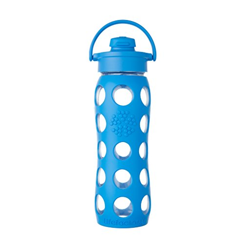 Lifefactory 22-Ounce BPA-Free Glass Water Bottle with Flip Cap and Protective Silicone Sleeve, Ocean ()