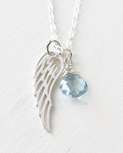 Gift Necklace for Loss of a Baby Miscarriage with December Birthstone Sky Blue Topaz - 18 Inch