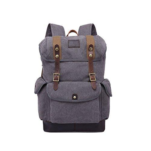 BAGEHUA 大容量のキャンバスバッグは、男性と女性の屋外適用トラベルバッグ、レトロな耐久性に優れたバックパック(幅 31 センチ、高さ 45 cm 、厚さ 15.5 cm ) B076KDGX8Ggray