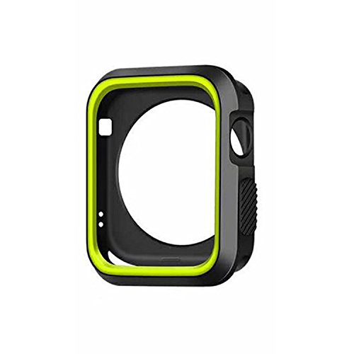 Apple Watch 42mm Case Series 2,Slim TPU iWatch Electroplate Metal Plated Protective Cover (BLACK+GREEN, Apple Watch)