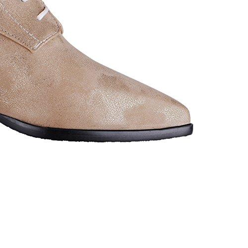 Allhqfashion Para Mujer Low-top Con Cordones Material Suave Low-heels Con Punta Cerrada Botas Con Punta Dorada