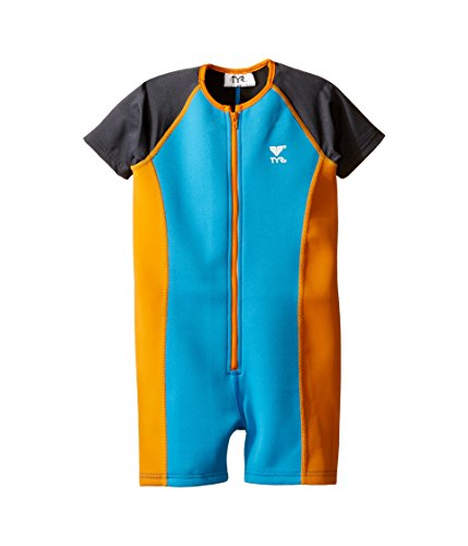 TYR Boys Solid Thermal Swim Suit (3T (Toddler), Blue/Orange)