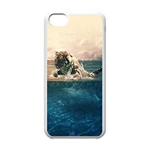 iPhone 5c Cell Phone Case White Tiger Running Blue Sea Nature Fcjzp