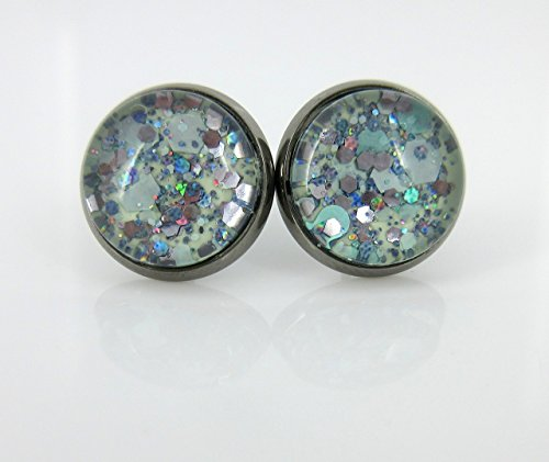 - Hematite-tone Mint Green and Silver Glitter Glass Stud Earrings Hand-painted 12mm