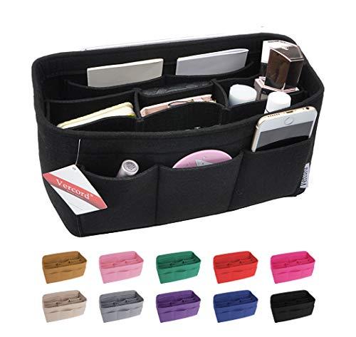 Vercord Felt Handbag Insert Organizer Purse Pocketbook Tote Bag Liner Shaper Inside Black Large