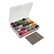 LJY Bobbin Case Organizer with 25 Clear Sewing Machine Bobbins and Assorted Colors Sewing Thread + Needles Set for Brother/ Babylock/ Janome/ Kenmore/ Singer