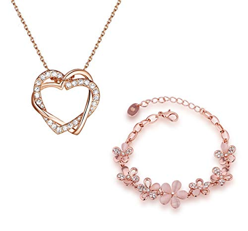Aaishwarya Partylook Rosegold Dual Heart Pendant Chain and Floral Bracelet Combo for Women & Girls