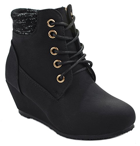 Kids Girls Sally28 Black Lace Up Faux Nubuck Knit Sweater Cuff Wedge Ankle Boot Booties-12 Sweater Wedge Boot