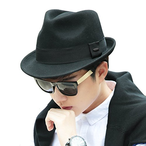 Sedancasesa Fedora Hats Wool Felt Hat Classic Pacific Lightweight and Stylish Cap for Men (Black) (German Outfit For Oktoberfest)