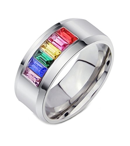 LineAve+Unisex+Stainless+Steel+Gay+Lesbian+LGBT+Pride+Ring+Rainbow+Wedding+Band%2C+Size+10%2C+1z5010s10