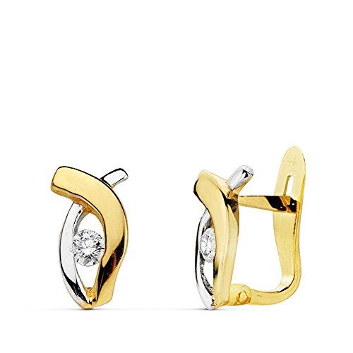Boucled'oreille 18k 10mm bicolor d'or. zircons première communion [AB0733]