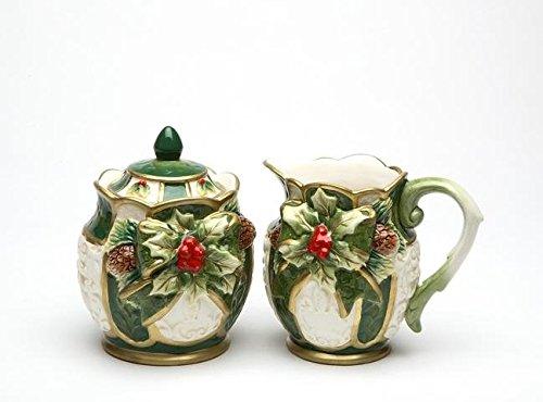 - Green and White Gold-Trimmed with Holly Sugar Creamer Collectible