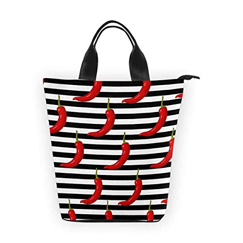 (InterestPrint Nylon Cylinder Lunch Bag Funny Chili Red Pepper Tote Lunchbox Handbag)