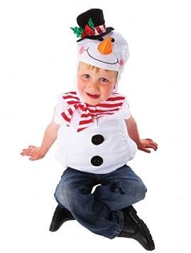 Snowman Childrens Kids Christmas Fancy Dress Costume Hooded Tabbard 3-5 Years