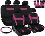 OxGord Car Seat Cover - Pink Black fits Car, Truck, Van, SUV - Full Set
