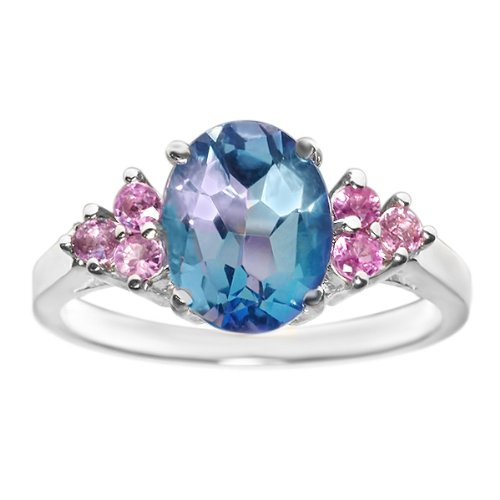 3.00 Ct Mystic Topaz Pink Sapphire 14K White Gold Ring (Size 9)