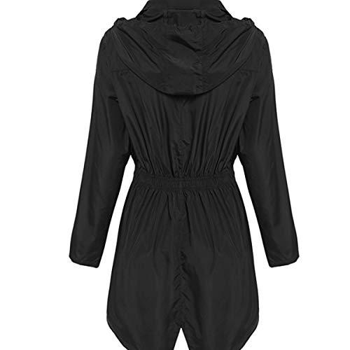 ZFFde Invierno Chaqueta de lluvia con capucha impermeable de la manga larga de las mujeres Chaqueta de bolsillo larga al aire libre que va de excursión (Color : Black, tamaño : XXL)