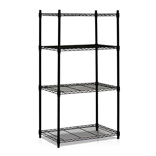 Furinno WS15004 Wayar Heavy Duty Wire Shelving System, 4-Tier, Black ()