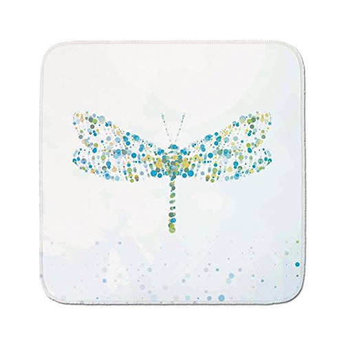 Cozy Seat Protector Pads Cushion Area Rug,Dragonfly,Macro Futuristic Digital Dragonfly Figure Made with Spots and Dots Dynamic Insect,Blue Green,Easy to Use on Any Surface