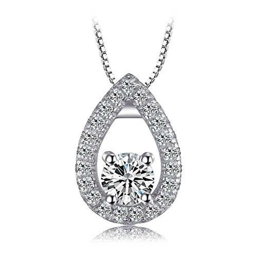 JewelryPalace 0.5ct Cubic Zirconia Solitaire Pendant Necklace 925 Sterling Silver 18