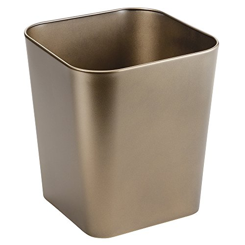 mDesign Metal Square Small Trash Can Wastebasket, Garbage Container Bin for Bathrooms, Powder Rooms, Kitchens, Home Offices - Solid Steel Construction in Champagne (Yellow Trash Can For Bedroom)