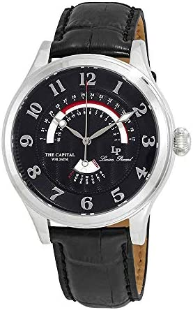 Lucien Piccard Men s The The Capital Stainless Steel Japanese-Quartz Watch with Leather Calfskin Strap, Black, 22 Model LP-40050-01