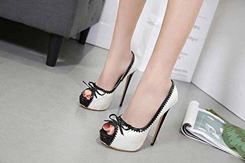 Zapatillas Alto Nuevo Arco Sandalias Peep 2018 Tacón Mujer Plataforma Blanco Toe Encantador 7HqwZEB