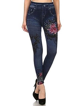 90ac61388cd0a Amazon.com : Stone Wash Fashion Jean Leggings (Floral Rhinestones) : Beauty