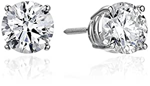 IGI Certified 14k White Gold Lab Created Diamond Stud Earrings (2 cttw, I-J Color, SI1-SI2 Clarity)