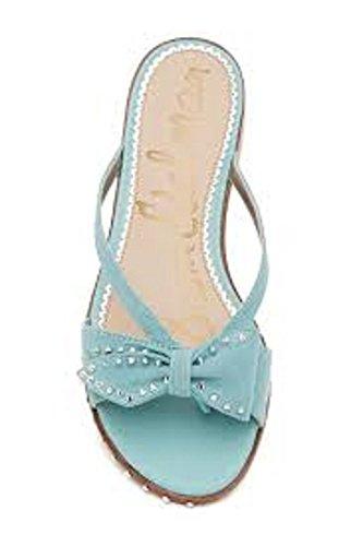 Sam Edelman Women's Dariel Sandal, Blue Porcelain Suede, 8 Medium (International Porcelain)