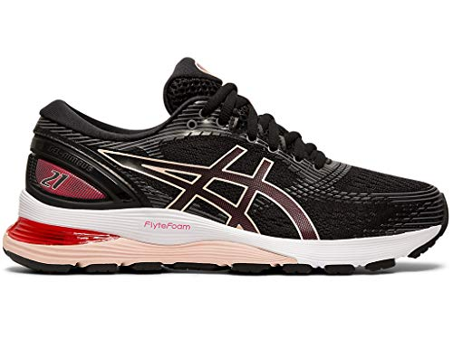 ASICS Women's Gel-Nimbus 21 Running Shoes, 9M, Black/Laser Pink (Asics Womens Gel Nimbus 18 Running Shoe)