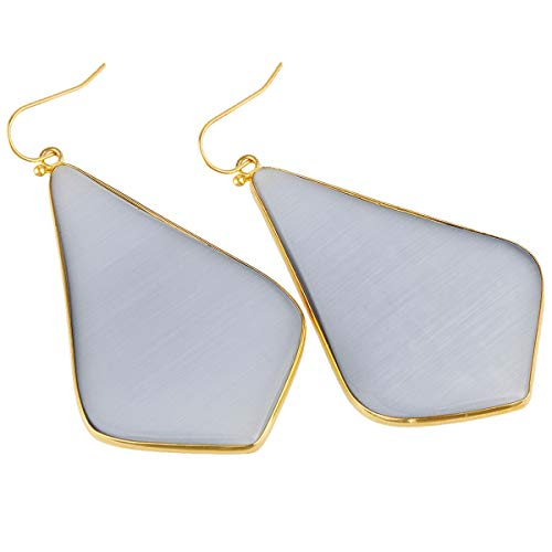TUMBEELLUWA Crystal Quartz Stone Dangle Hook Earrings Rhombus Shape Gold Plated,Grey Cat's Eye Stone