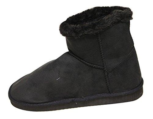 C Label Cupcake-118 Dames Winter Warm Comfort Enkel Suede Faux Bontvoering Casual Snowboots Zwart