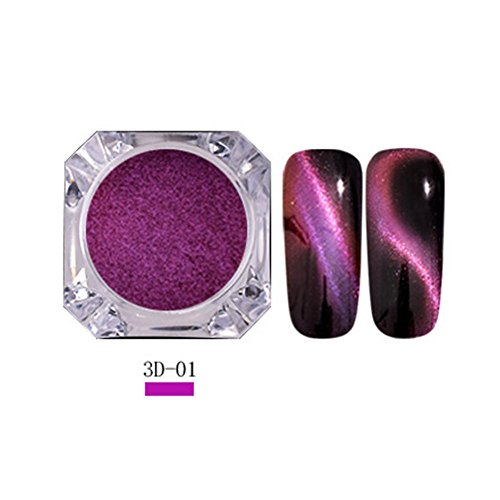 Matoen Cat Eye Nail Art Decoration Powder Neon Mirror glitter Mirror Effect Rainbow Crystal Opal (A)