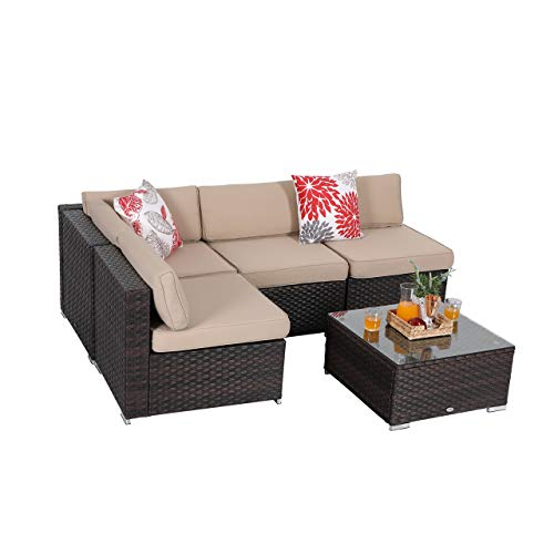 PHI VILLA 5-Piece Patio Furniture Set Outdoor Rattan Sectional Sofa with Tea Table, Beige