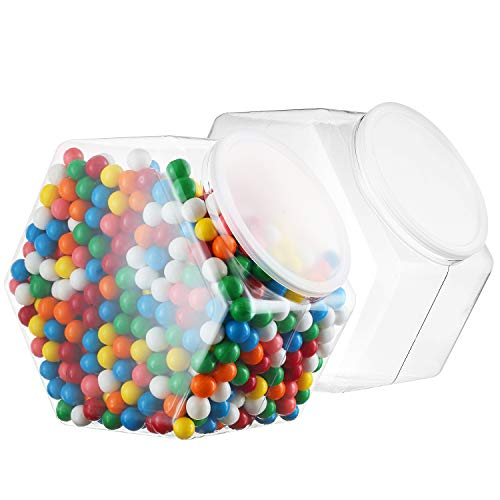 Pack of 2-1.5 Gallon Cookie Containers With Lids - Plastic Clear Candy Container - Kitchen Countertop Jars - Wide Mouth Opening For Easy Refill - Great For Homemade Cookies, Cakes, Food Safe (1 Gallon Candy Jar)