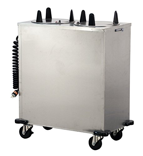 Lakeside 6209 Regular Plate Dispenser, Stainless Steel Cabinet, 2 Stack-Heated, Mobile Unit, Accommodates Plates 8-1/4