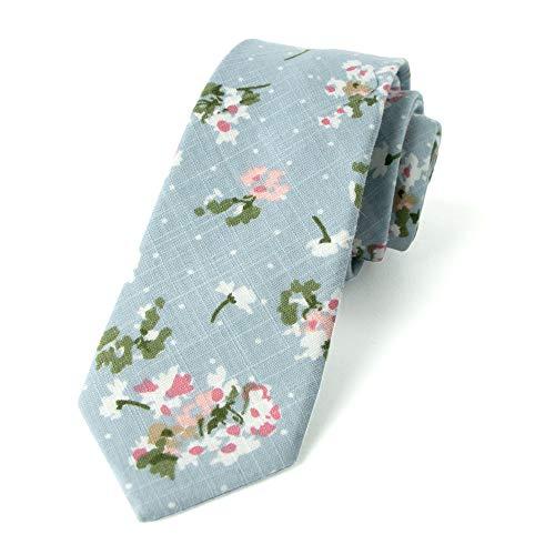 - Spring Notion Men's Floral Print Cotton Skinny Tie, 19-Light Blue Red