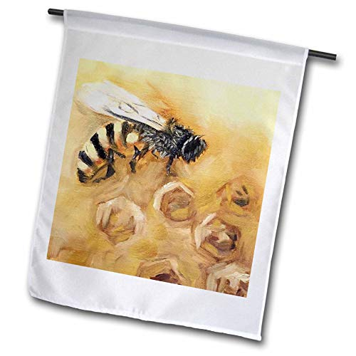 3dRose Melissa A. Torres Art Bees - Image of a honey bee on a honeycomb background - 18 x 27 inch Garden Flag ()